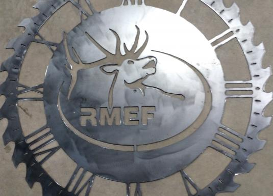 Elk clock saw blade custom designed 12 gauge steel rocky mountain elk foundation silent auction all proceeds benefit RMEF