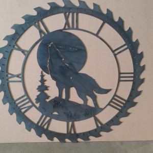 custom metal art clock wolf clock